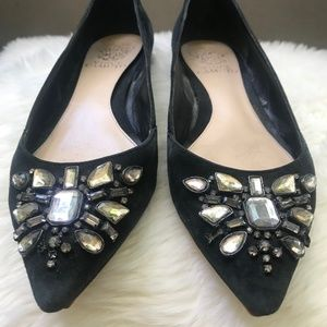 Vince Camuto Black Suede Jeweled Flats | Size 7